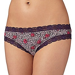 Debenhams - Purple leopard and rose print brazilian briefs