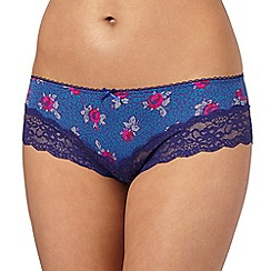 Debenhams - Navy leopard rose printed brazilian briefs