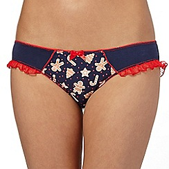 Debenhams - Navy gingerbread frill bikini briefs
