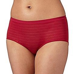 Debenhams - Dark pink 'invisible' burnout striped shorts