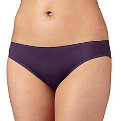 Debenhams - Plum 'invisible' lace back brazilian briefs