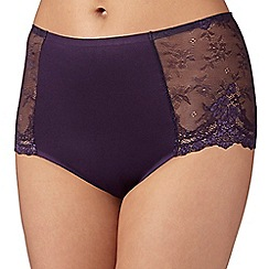 Debenhams - Plum 'invisible' lace back midi briefs