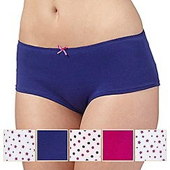 Debenhams - Pack of five pink star and spot printed shorts