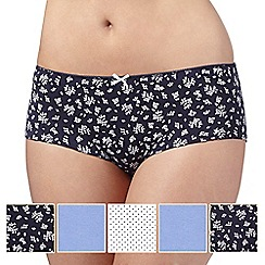 Debenhams - Pack of five blue spot and bud printed shorts