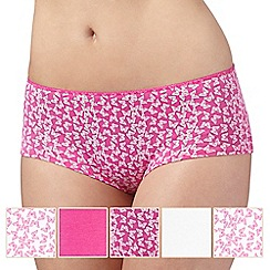 Debenhams - Pack of five pink and white butterfly print shorts