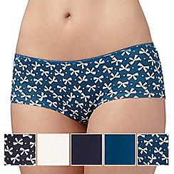 Debenhams - Pack of five navy, cream and turquoise bow print shorts