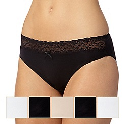 Debenhams - Pack of five black, white and natural microfibre high leg briefs