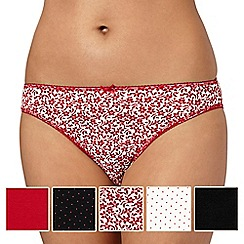 Debenhams - Pack of five red spot and floral printed high leg briefs