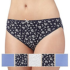 Debenhams - Pack of five blue spot and bud printed high leg briefs