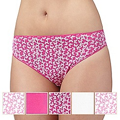 Debenhams - Pack of five pink and white butterfly print high leg briefs