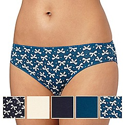Debenhams - Pack of five navy, cream and turquoise bow print high leg briefs