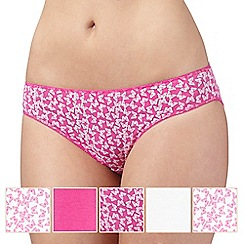 Debenhams - Pack of five pink and white butterfly print bikini briefs