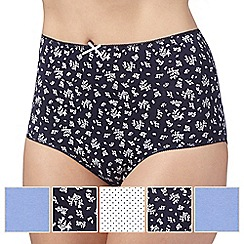 Debenhams - Pack of five blue spot and bud printed full briefs