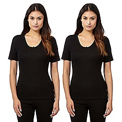 Debenhams - Pack of two black thermal t-shirts