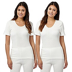 Debenhams - Pack of two cream thermal t-shirts