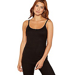 Debenhams - Pack of two black thermal camisoles