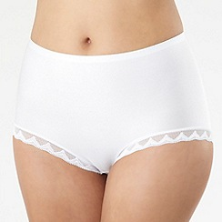 Debenhams - White lace trim invisible full briefs