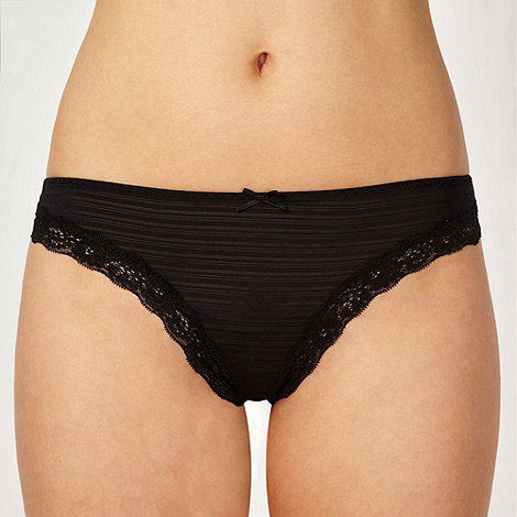 Debenhams - Black stripe and lace trim thong