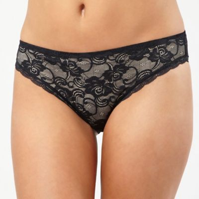 Black lace invisible high leg briefs