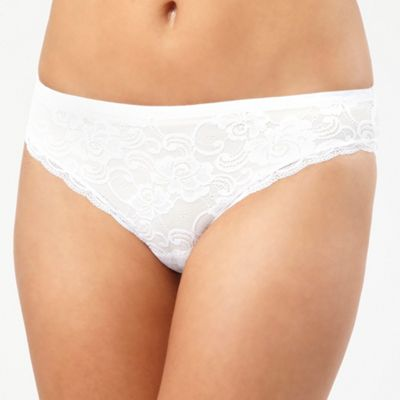 White lace invisible high leg briefs