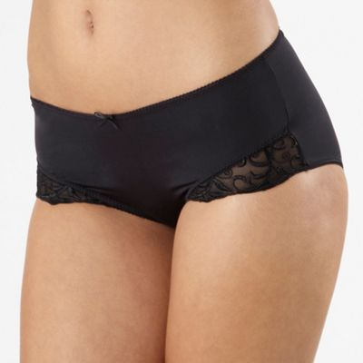 Black lace trim midi briefs