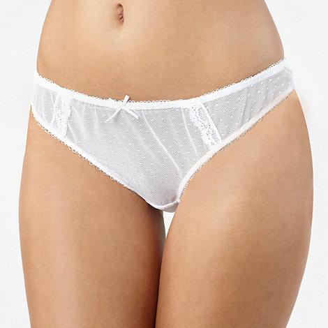 Debenhams - White spotted mesh thong