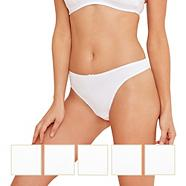 Pack of five white cotton stretch thongs