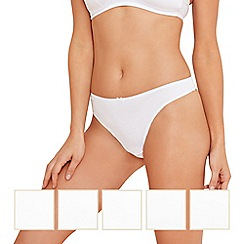 Debenhams - Pack of five white cotton stretch thongs