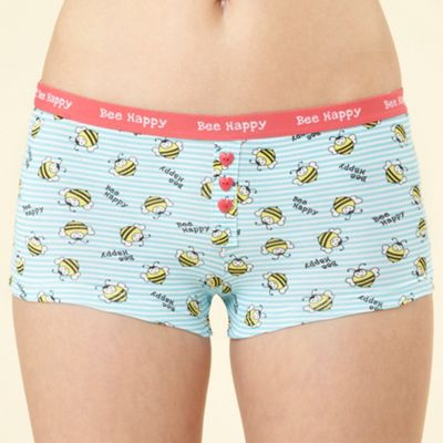 Turquoise Bee happy boxer briefs