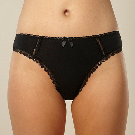 Debenhams - Black high leg lace trim briefs