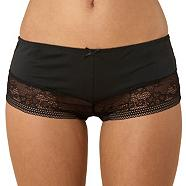 Black wide lace trim shorts