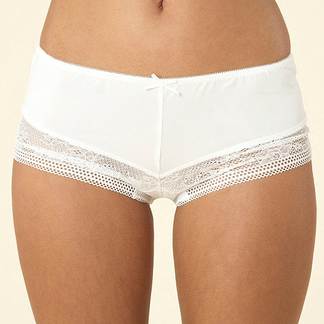 Debenhams - Ivory wide lace trim shorts