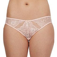 Debenhams - Light pink lace cut-out high leg briefs