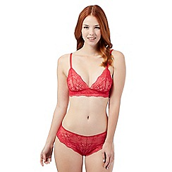 Debenhams - Red floral lace crop top bra