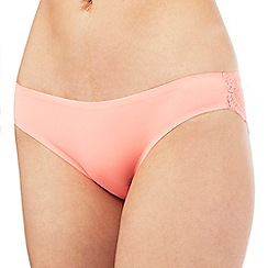 The Collection - Peach floral lace invisible Brazilian briefs
