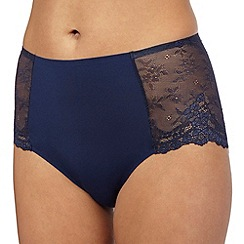 The Collection - Navy floral lace invisible midi briefs