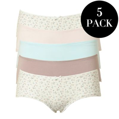 Pack of five aqua low rise shorts