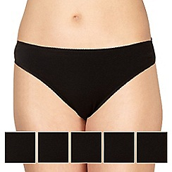 Debenhams - Pack of five cotton black high leg briefs