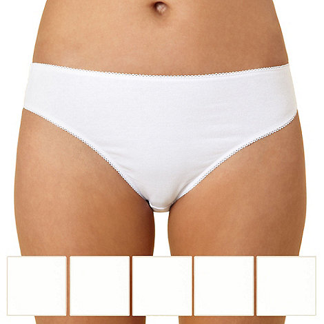 Debenhams - Pack of five cotton white high leg briefs