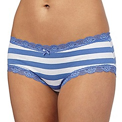 The Collection - Blue striped print lace shorts
