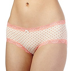The Collection - Peach polka dot print lace trim shorts