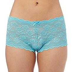 The Collection - Turquoise floral lace shorts