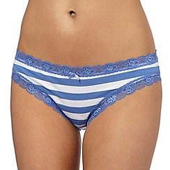 The Collection - Blue striped print lace bikini briefs
