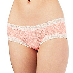 The Collection - Bright peach floral lace shorts