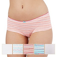 The Collection - Pack of five assorted plain, striped and zig zag print shorts