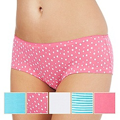Debenhams - Pack of five assorted plain, striped and star print shorts