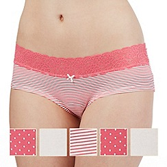 The Collection - Pack of five pink and white patterned shorts