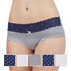 The Collection - Pack of five navy and white patterned shorts