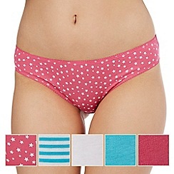 The Collection - Pack of five assorted plain, striped and star print bikini briefs