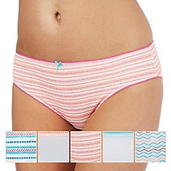 Debenhams - Pack of five assorted plain, striped and zig zag print bikini briefs